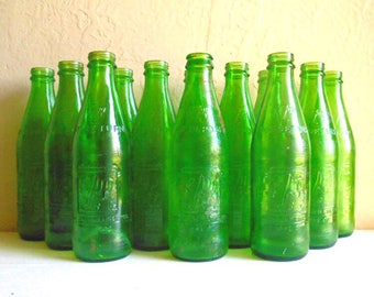 Collection of Antique Vintage Glass 7Up Soda Pop Bottles Bright Emerald Grass Green 10 fl oz ounces