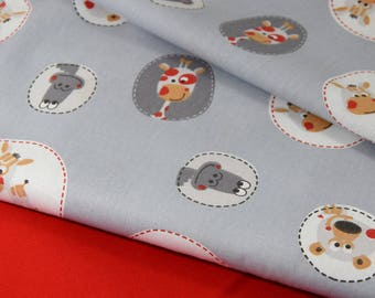 """printed """"pet"""" 100% cotton fabric grey background"""