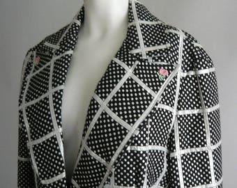 Vintage CHATTA 70s Brocade Evening Jacket / Metallic Silver Black Plaid / size medium 10 12 14 / Butterfly Collar One Button