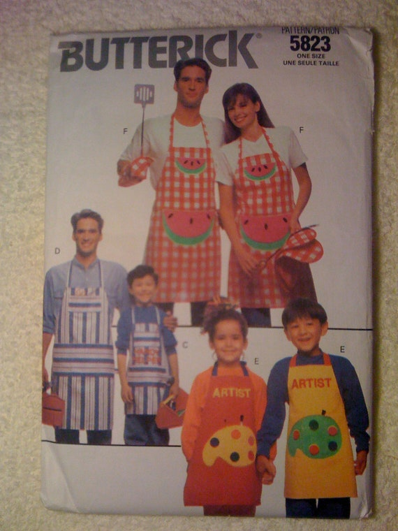 Butterick 90s Sewing Pattern 5823 Family Aprons, Chef Hats, Cooking Mitt, and Potholder All Sizes Included UNCUT Sale