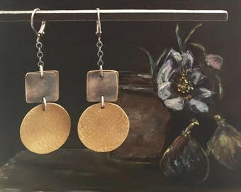 Oxidized Sterling Silver, Patinated Bronze and Brass Earrings