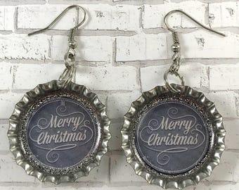 Merry Christmas, Christmas Jewelry, Christmas Earrings, Holiday Jewelry, Chalkboard Earrings, Bottle Cap Earrings, Stocking Stuffer