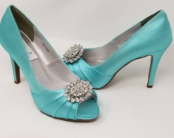 Tiffany blue heels etsy blue wedding shoes with crystals blue bridal shoes over 100 color choices to pick from junglespirit Images