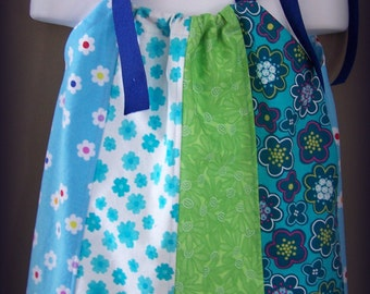 Flower Power Girl, Toddler, Pillowcase Dress RTS 12-24 Month Blue, Green, Yellow Grossgrain Ribbon