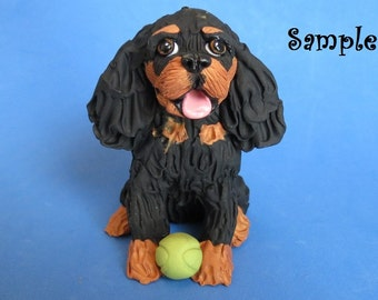 Cavalier King Charles Spaniel Dog sitting with tennis ball OOAK polymer clay art sculpture by Sally's Bits of Clay