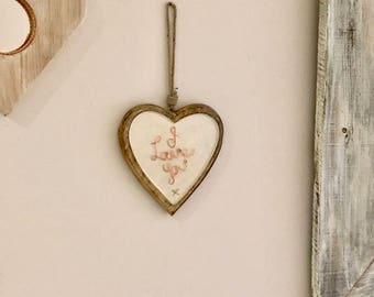 Romantic Wooden Heart, Lovers Gift, Homeware, Copper Love Heart, Ceramic Heart, Heart Trinket, Wall Hung Heart, Mums Birthday