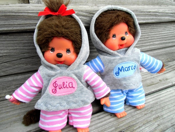 CLOTHING for MONCHICHI Gr. 20 2x Hoodie + pants Monchhichi personalized with NAME