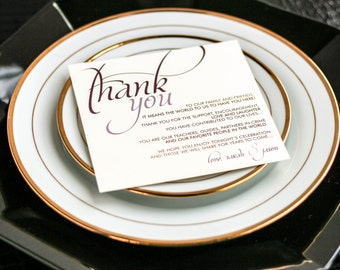 """Wedding Thank You Place Card, Square Calligraphy signage, Purple Theme - """"Dramatic Script"""" Reception Thank You Sign 5.25x5.25 - DEPOSIT"""