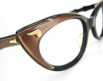 Vintage 60s Satin Brown Cat Eye Eyeglasses Frame Bausch&Lomb