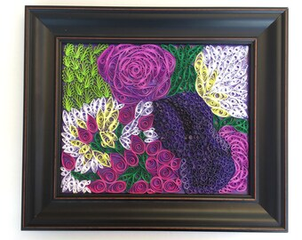 Flower Bouquet Original Paper Quilled Mosaic, Framed