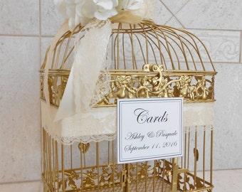 Gold Birdcage Wedding Card Holder | Wedding Card Box | Gold Birdcage | Card Holder | Gold and White | Gold and Ivory