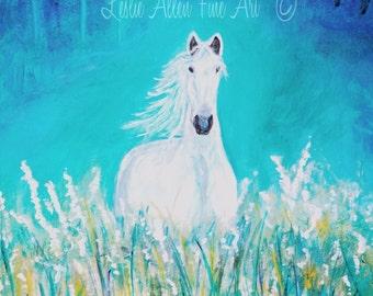 Horse Art Horse Art Print Horse Decor Horse Wall Decor Horses White Friesian Flowers Field Leslie Allen Fine Art