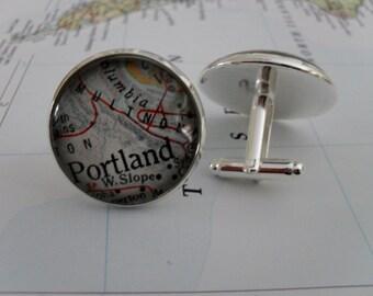 PORTLAND OREGON Map Silver Cufflinks / groomsmen gift  / Portland Cuff Links / Map jewelry / Custom map / Gift boxed / Vintage Map cuff link