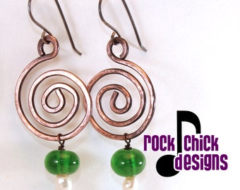 Spiral copper earrings, medium 2 inch length, with recycled Jameson, Pinnacle vodka, or Patron tequila bead dangle