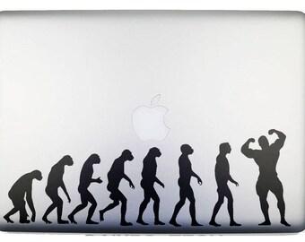 Man Evolution to Bodybuilding Decal Sticker, BodyBuilders Muscle Body Building Build IFBB, mac, Macbook Decal Sticker