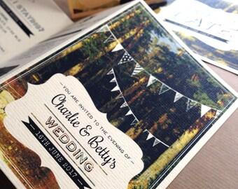 Concertina Woodland Wedding Invitation with detachable RSVP