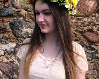 Yellow Flower Crown, Rustic Floral Wreath, Handmade Boho Hair Crown, Girl Women Hair Crown, Summer Hair Accessory, Gift For Her