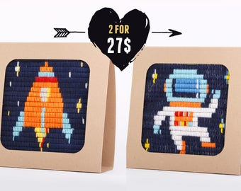Rocket Ship & Astronaut design beginners embroidery kids kit, boy birthday gift idea, Craft kit, Vintage style embroidery kit
