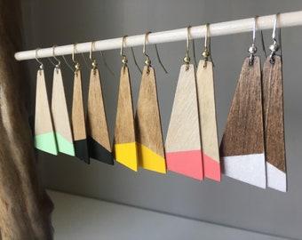 Paint-dipped plank wooden earrings -minimalist earrings - modern earrings - statement earrings - wood earrings - painted wood earrings
