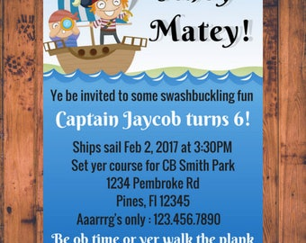 Ahoy Matey PIRATE BIRTHDAY INVITATION - Digital file only