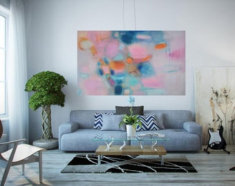"XL Abstract giclee canvas gray blue blush minimalist Extra Large long horizontal painting for over sofa 50""x30"" modern landscape blue blush"
