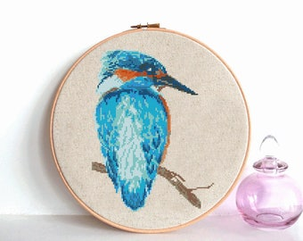 Kingfisher bird cross stitch pattern, Modern cross stitch pattern, Watercolor kingfisher counted cross stitch chart, Watercolor bird, nature