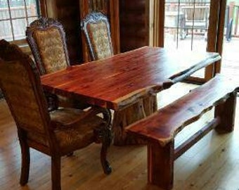 Cedar Stump Table, Cedar Table, Stump Table, Dining Set, Live Edge, Dining Table With Seating, Benches, Dining Table