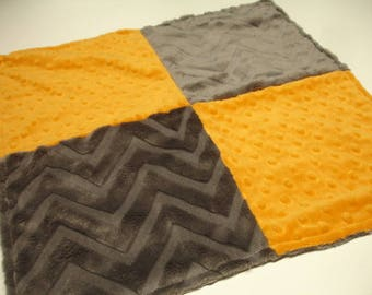 Orange and Gray Chevron Double Sided Minky Baby Receiving Blanket  16 x 16 READY TO SHIP