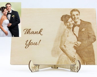 Thank You Card Personal Photo, Wood Laser Cut Thanks Card, Unique Wedding Thank You Card, Wooden Wedding Thanks Card, Wedding Alternative