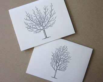 Winter Trees Note Cards Set of 10 with Matching Envelopes