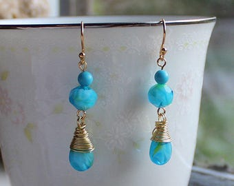 Turquoise Glass Bead Earrings with Wrapped Briolettes