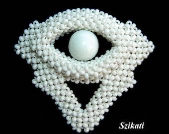 Beaded Brooch, Statement Beadwoven Brooch, White Brooch, Bridal Brooch, Beadwork, RAW, Wedding Jewelry, Women's Accessory, Gift for Her OOAK