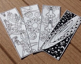 DIGITAL DOWNLOAD, Space Coloring Bookmark Set, DIY Birthday Favors, Boy Birthday Favors, Space Birthday Party, Art Party, Coloring Pages
