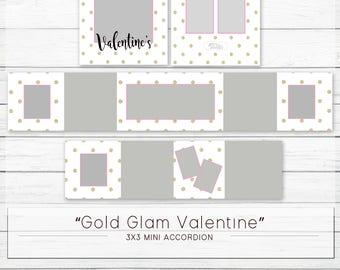 "3x3 Mini Accordion - Valentine's ""Gold Glam"" - Digital Template WHCC"