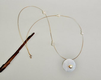 Sterling silver pendant necklace,  big circle pendant, pearl long necklace, geometric jewelry, minimalist pendant, agate necklace