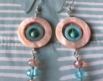 Pale Turquoise & Peach Cicular Shell Earrings with Swarovski Crystal Dangles