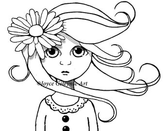 Big-Eyed Girl Clipart, You Color, Commercial Use, Cute Girl, Big Eyes, Curly Hair with DAISY, Whimsical, Surreal Art, Instant Download