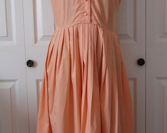 1960s Betty Barclay Orange Day Dress Large