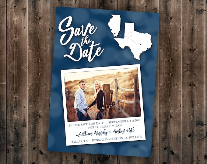 State Save The Date Card, Postcard Save the Date, Photograph Save the Date, Save the Date Card with Photo, Save the Dates, Engagement Card
