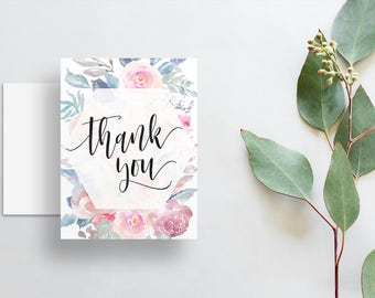 Watercolor Floral Thank You Cards / Dusty Blue Pink Watercolor Floral / Calligraphy / Thank You Notes / Printed Folded Thank You Cards