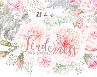 Floral Watercolor Elements, Roses, Hydrangeas, Bohemian Boho Flowers. Hand Painted Wedding Clipart. Bridal, Suite, Digital png, greeting