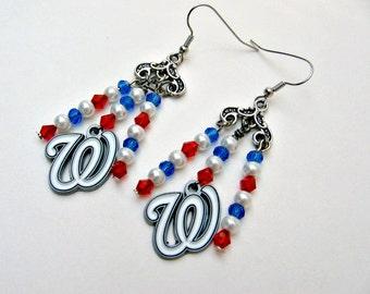 Washington Nationals Earrings, Washington Nationals Jewelry, Washington Nationals Accessory, Nationals Earrings, Baseball Jewelry, Baseball