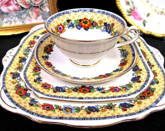 FOLEY tea cup and saucer trio and cake plate floral band wildflower teacup