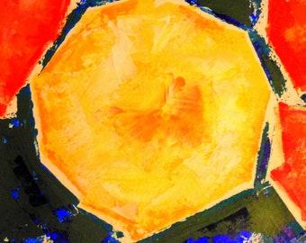 Melon original art, fine art, digital download, instant download, orange painting