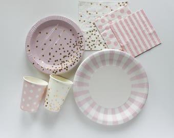 Pink Tableware Bundle / Pink and Gold Tableware / Light Pink Tableware / Pink Confetti Bundle / Pink Confetti