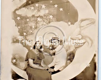 Sweet Couple  On The  Paper Moon Instant Download Vintage Photo