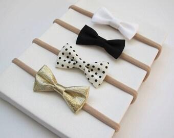 Baby Headbands | Small Bows | Nylon Headbands | Baby Bows | Baby Headband Set | Gold, black, white, polkadots. Set of 4 headbands
