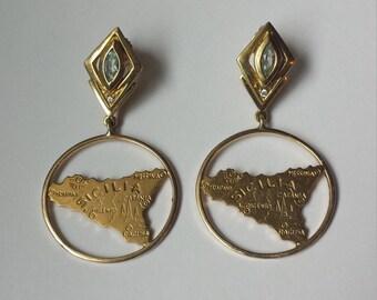 18K Yellow Gold Sicilian Map Earrings