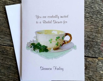 Irish Shamrock Teacup Bridal Wedding Shower Anniversary Party  Invitations