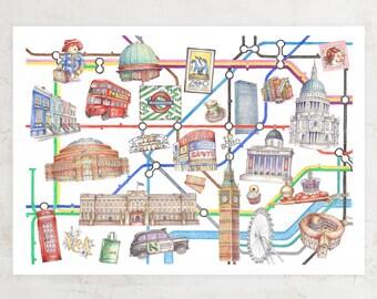 Illustrated London Underground Map Art Print